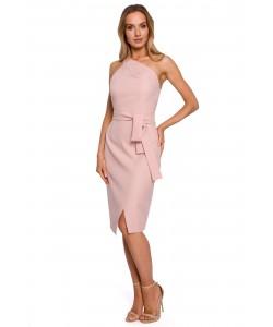 Efektowna sukienka z jedną szelką M572 różowa