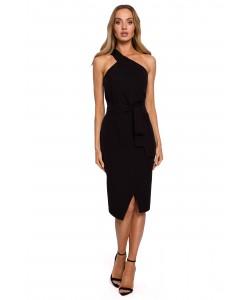 Efektowna sukienka z jedną szelką M572 czarna -2