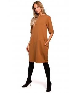 Sukienka bawełniana bombka M451 Karmelowa