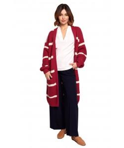 Długi kardigan w paski BK070 model 1 czerwony