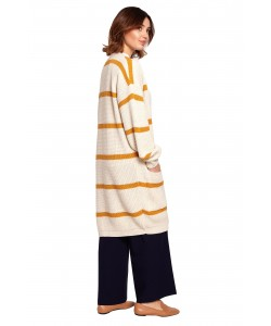 Długi kardigan w paski BK070 model 3 biały