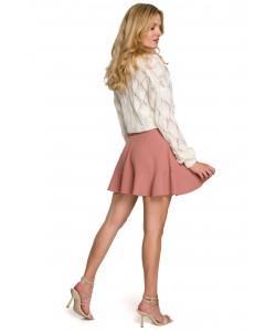 Mini spódniczka z falbanką K100 różany
