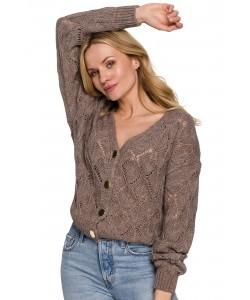 Ażurowy sweter na guziki K104 mocca