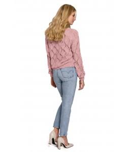 Ażurowy sweter na guziki K104 pudrowy