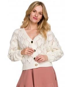 Ażurowy sweter na guziki K104 ecru