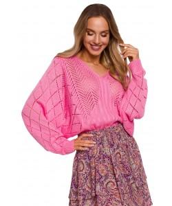Sweter z rękawami ala nietoperz M595 róż