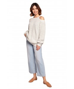 Sweter z wycięciami na ramionach BK069 popielaty