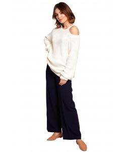 Sweter z wycięciami na ramionach BK069 ecru