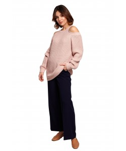 Sweter z wycięciami na ramionach BK069 różowy
