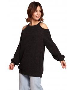 Sweter z wycięciami na ramionach BK069 czarny