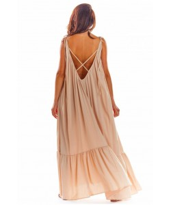 Maxi sukienka na ramiączkach A307 beż