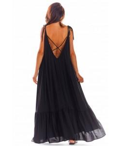 Maxi sukienka na ramiączkach A307 czarny