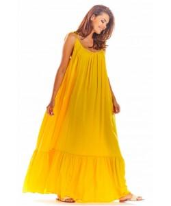 Maxi sukienka na ramiączkach A307 żółty