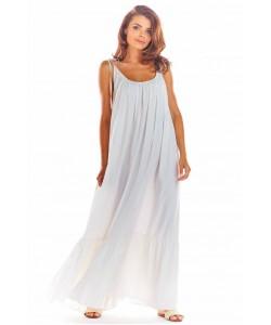 Maxi sukienka na ramiączkach A307 biały