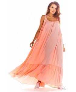 Maxi sukienka na ramiączkach A307 różowy