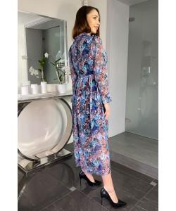 Długa zwiewna sukienka Venus niebieskie kwiaty