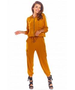 Sportowa damska bluza na zamek A294 camel