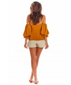 Bluzka hiszpanka z bufiastym rękawkiem A305 camel
