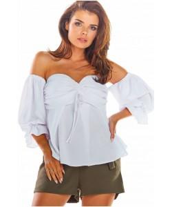 Bluzka hiszpanka z bufiastym rękawkiem A305 biały
