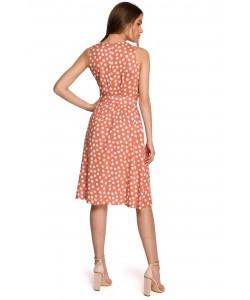 Sukienka w groszki z paskiem S264 łososiowa