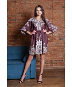 Elegancka sukienka w stylu boho Ester brązowy