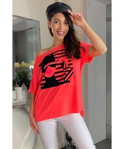 Damski t-shirt nadruk twarzy oversize róż