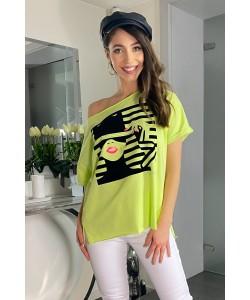 Damski t-shirt nadruk twarzy oversize limonka