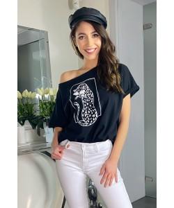 T-shirt z nadrukiem geparta czarny