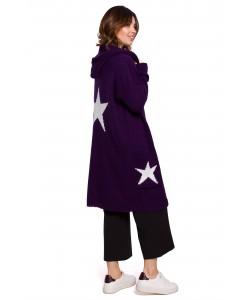 Długi kardigan z kapturem gwiazdy BK063 śliwkowy