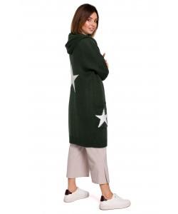 Długi kardigan z kapturem gwiazdy BK063 zielony