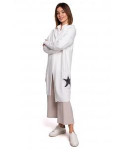 Długi kardigan z kapturem gwiazdy BK063 biały