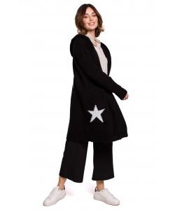 Długi kardigan z kapturem gwiazdy BK063 czarny
