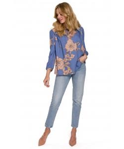 Damska bluzka z bufiastymi rękawami K099 niebieska