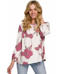 Damska bluzka z bufiastymi rękawami K099 ecru