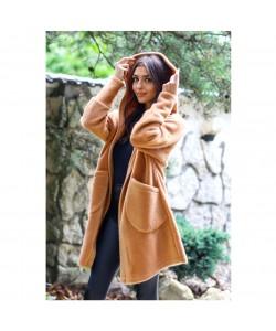 Oversizowy płaszcz z alpaki Whitney brąz