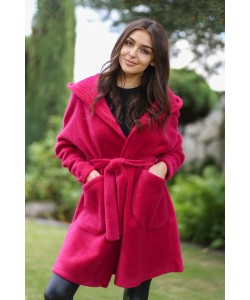 Oversizowy płaszcz z alpaki Whitney fuksja