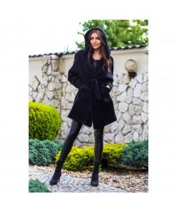Oversizowy płaszcz z alpaki Whitney czarny