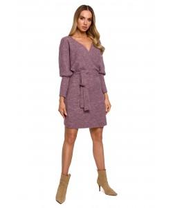 Swetrowa sukienka z wiązaniem M631 wrzosowy
