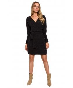Swetrowa sukienka z wiązaniem M631 grafitowy