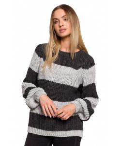 Luźny sweter w pasy- szaro biały