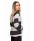 Luźny sweter w pasy- szaro biały 3