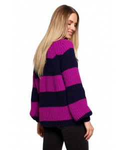 Luźny sweter w pasy- fioletowy