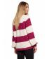 Luźny sweter w pasy- różowy