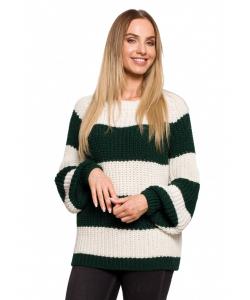 Luźny sweter w pasy-zielony